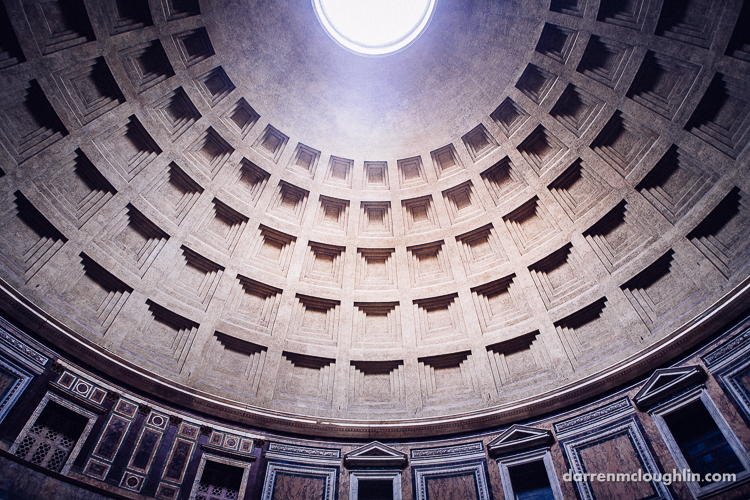 Interior of the domed ceiling of Rome's Pantheon